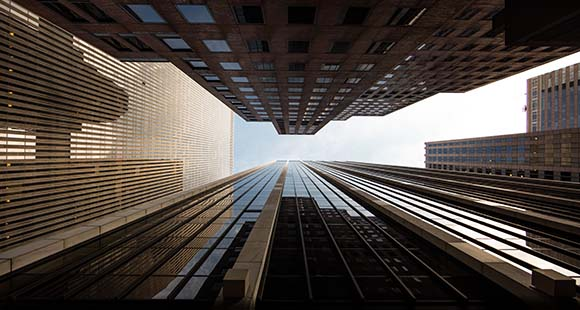 Tall buildings, view looking up