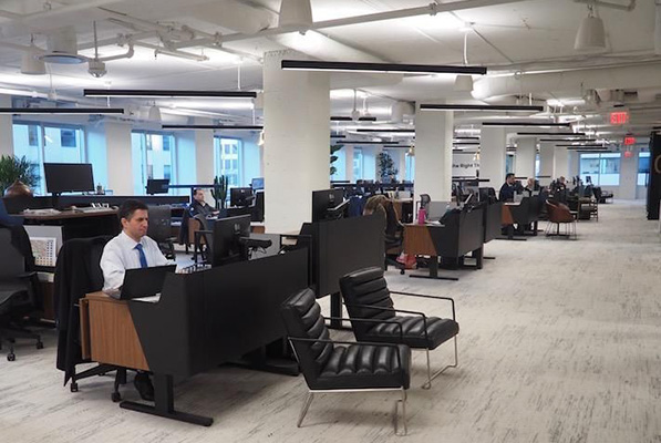 The open floor plan in Cresa's headquarters office