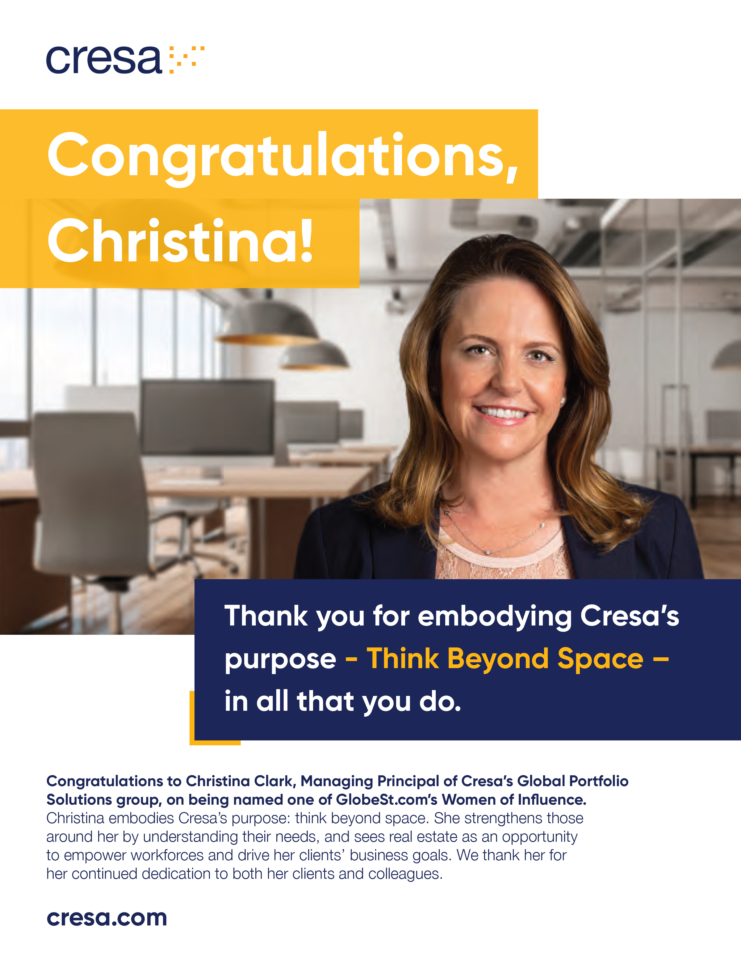 Christina Clark GlobeSt. WOI 2020 congratulations graphic