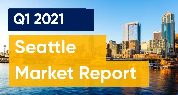 Label for Seattle 2021 Market Report with City in Background
